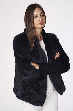 Alexandra, Tetto Fur Jacket with Ribbed Sleeves and Front Closer Clasps | Ink
