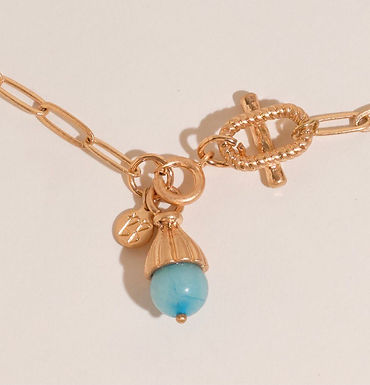 Lotti Stone Necklace   Vintage Gold