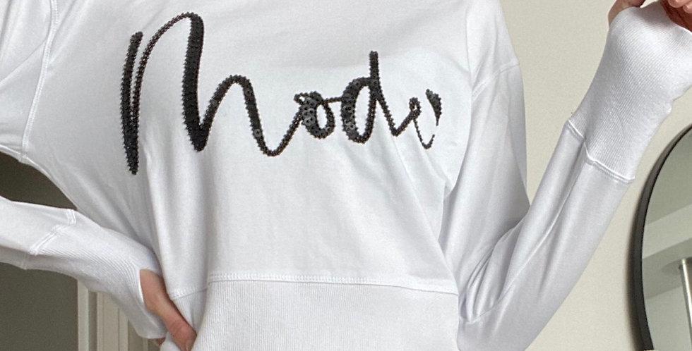 Mackenzie Mode, Sequin Motif Mode Sweatshirt with Back Zip Detail | White