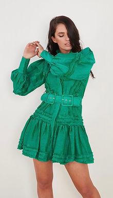 Mackenzie Mode, Starlet Long Sleeved Mini Dress with Ruffle Detail | Emerald