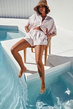 Sndys the Label, Elastic Waist Bella Linen Shorts | Baby Pink