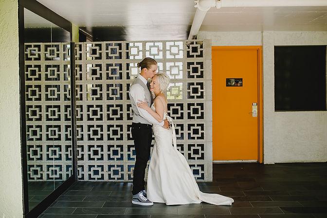 modern wedding couple bride and groom - modern venue and hotel - austin tx