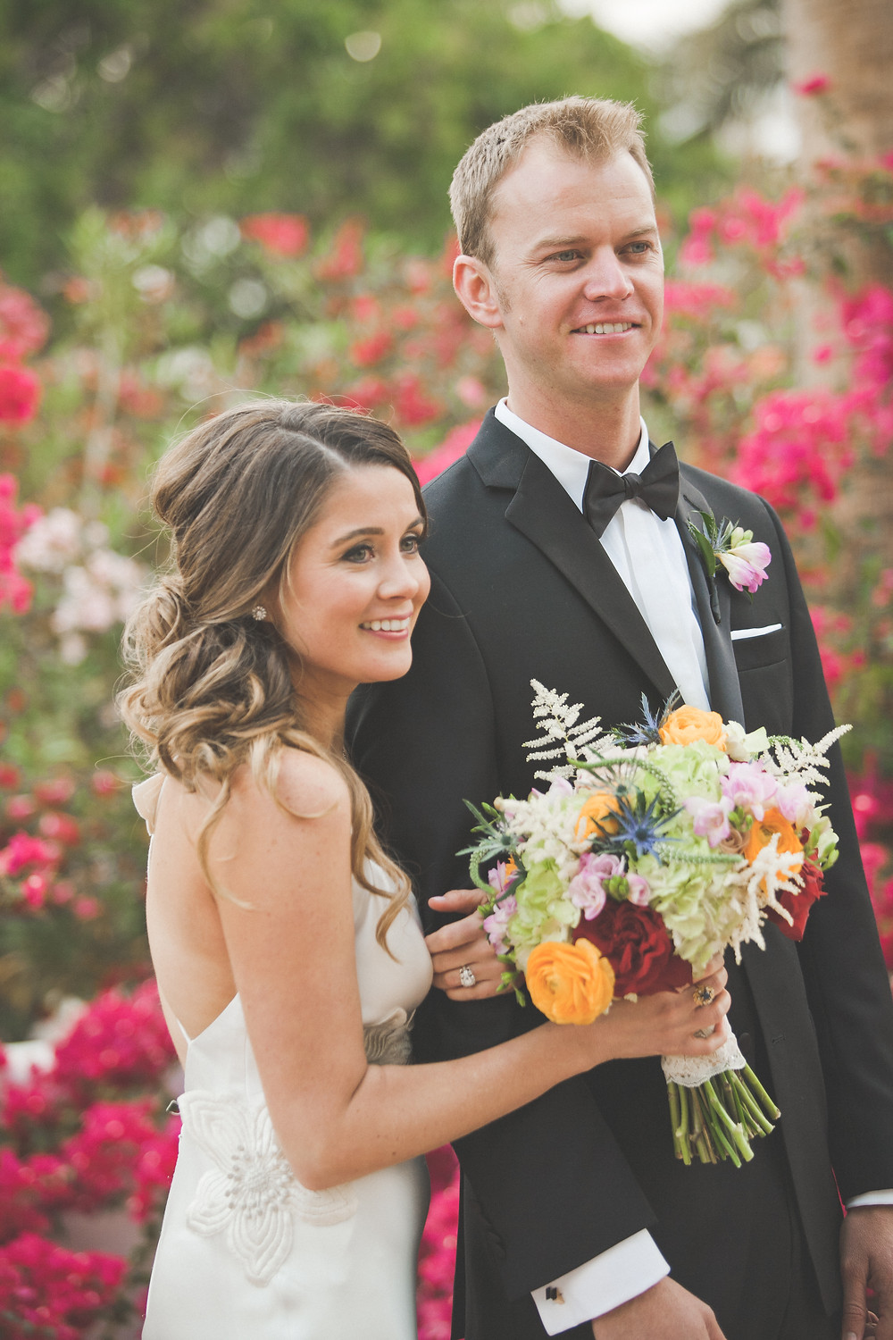 Elopement Couple Bride and Groom with Bouquet