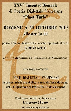 """XXV Edizione dell'Incontro Biennale di Poesia Dialettale """"Pinet Turlo"""""""