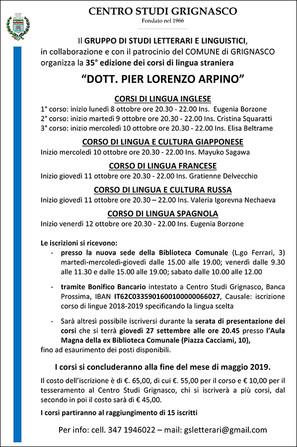 Corsi di lingua straniera ''Dott. Pier Lorenzo Arpino''
