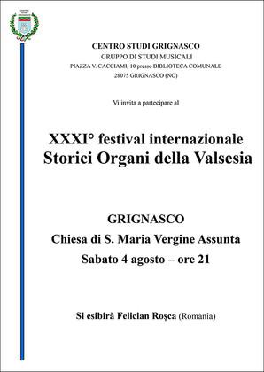 XXXI° festival internazionale Storici Organi della Valsesia
