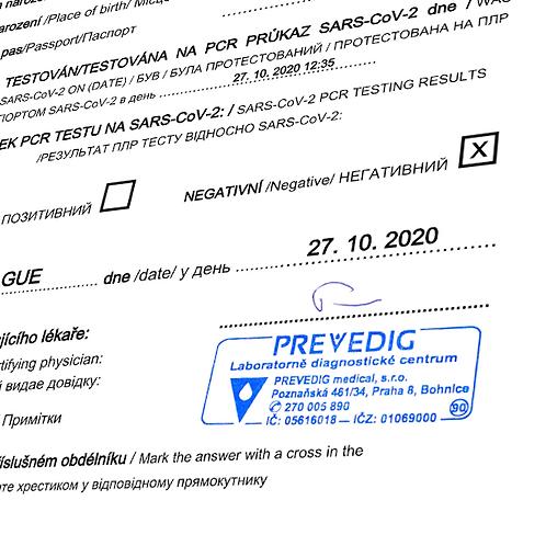 Lékařské potvrzení o výsledku testu pro vycestování