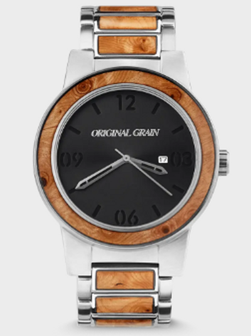 Original Grain 47mm Burlwood & Silver Watch