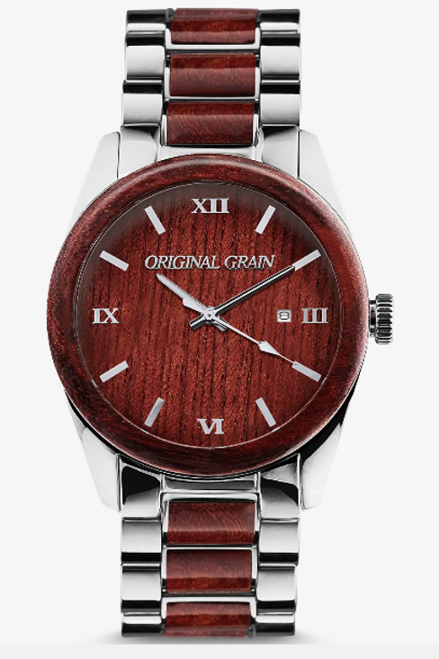 Rose Wood & Silver Watch