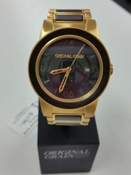 Original Grain Ebony & Gold Watch