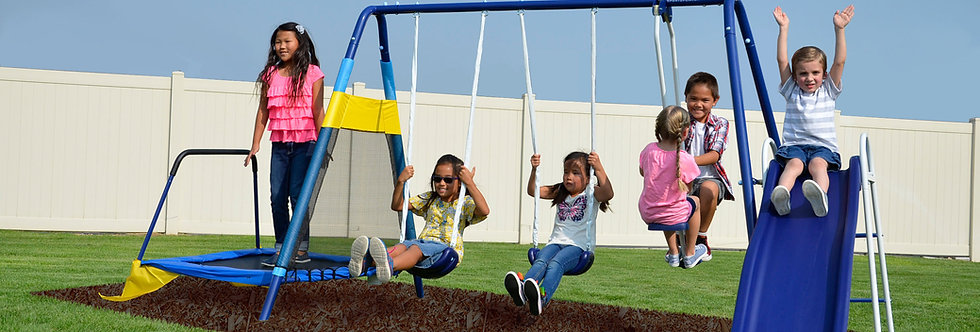 Almansor Metal Swing, Slide and Trampoline Set
