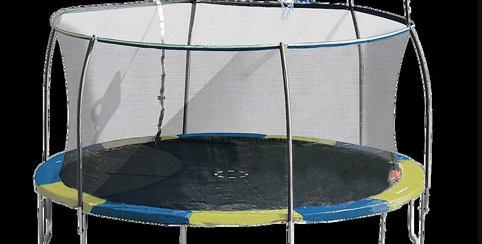 14ft Steelflex Pro Enclosure Trampoline with Fly Slama Jama Basketball Hoop