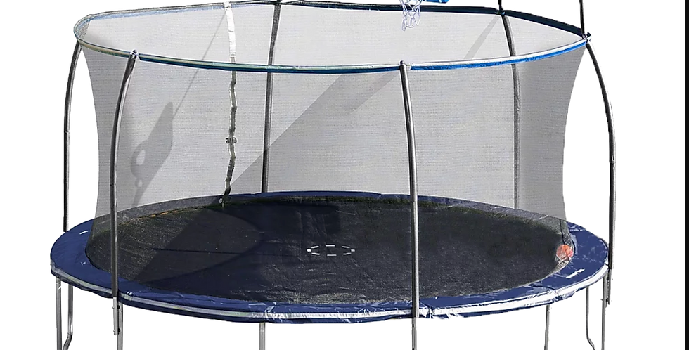 14ft Steelflex Pro Enclosure Trampoline with Fly Slama Jama Basketball Hoop