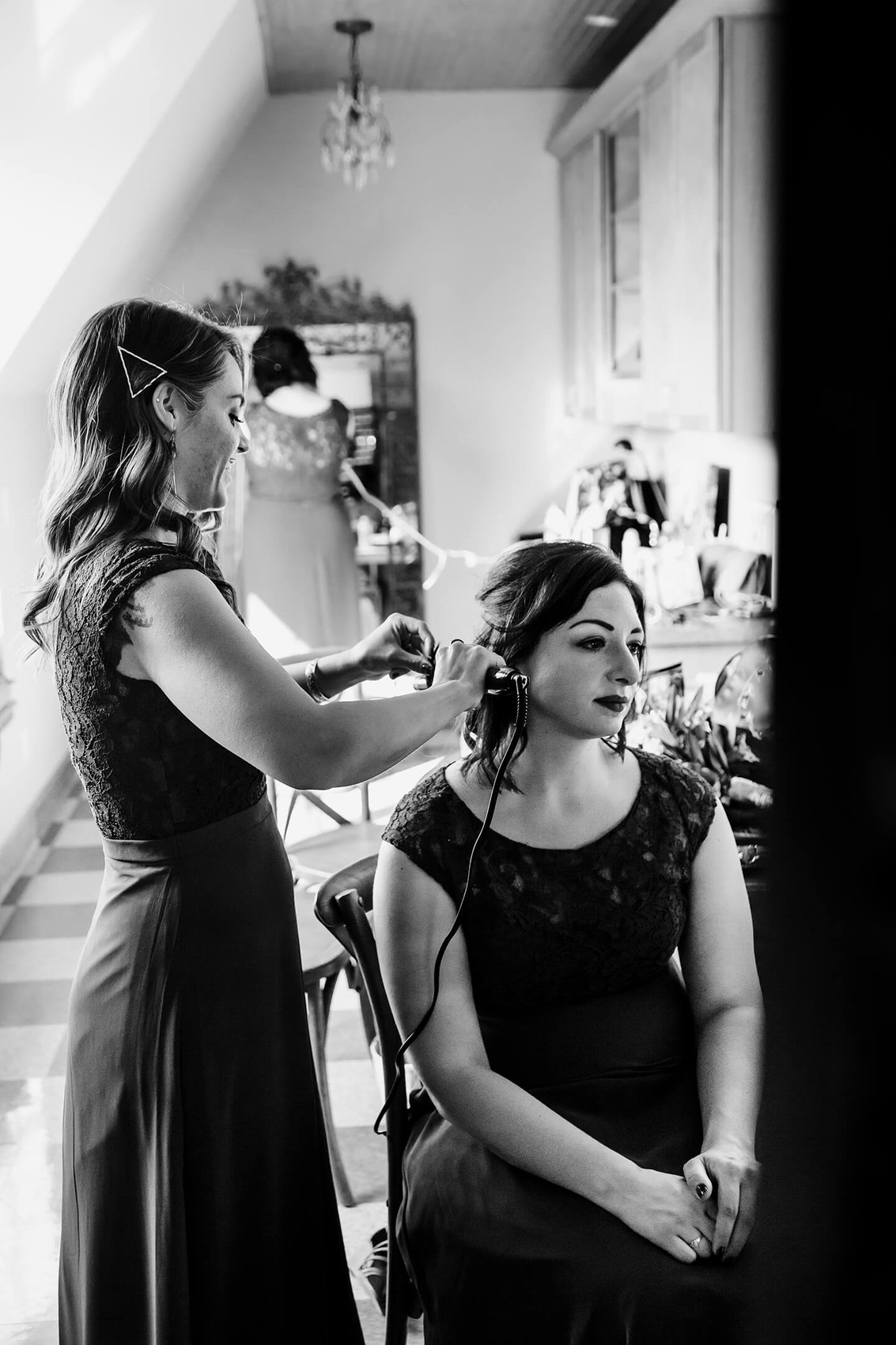 Getting ready on wedding day