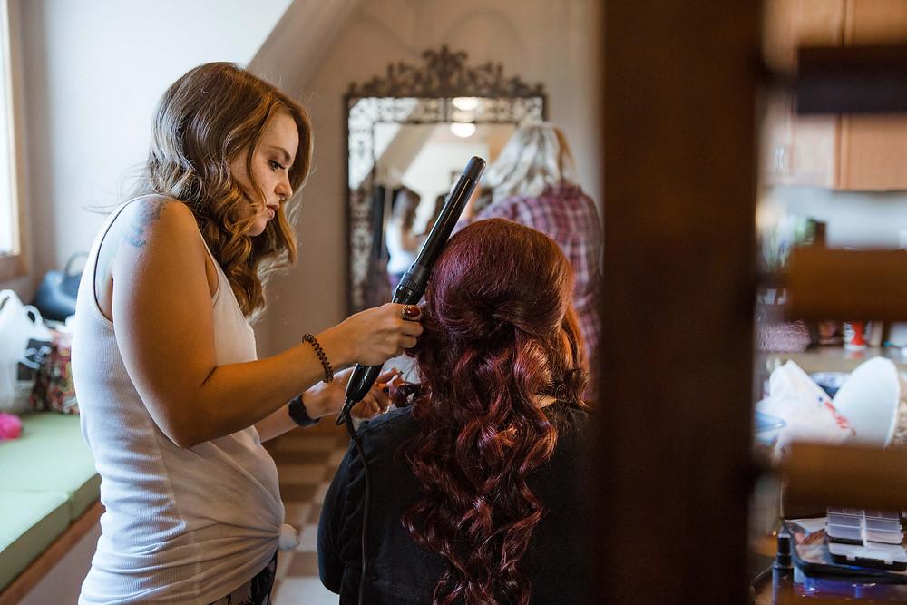 Bride getting ready