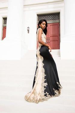dress,back model,beige and black