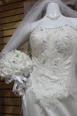 Lace Wedding Gown and bouquet