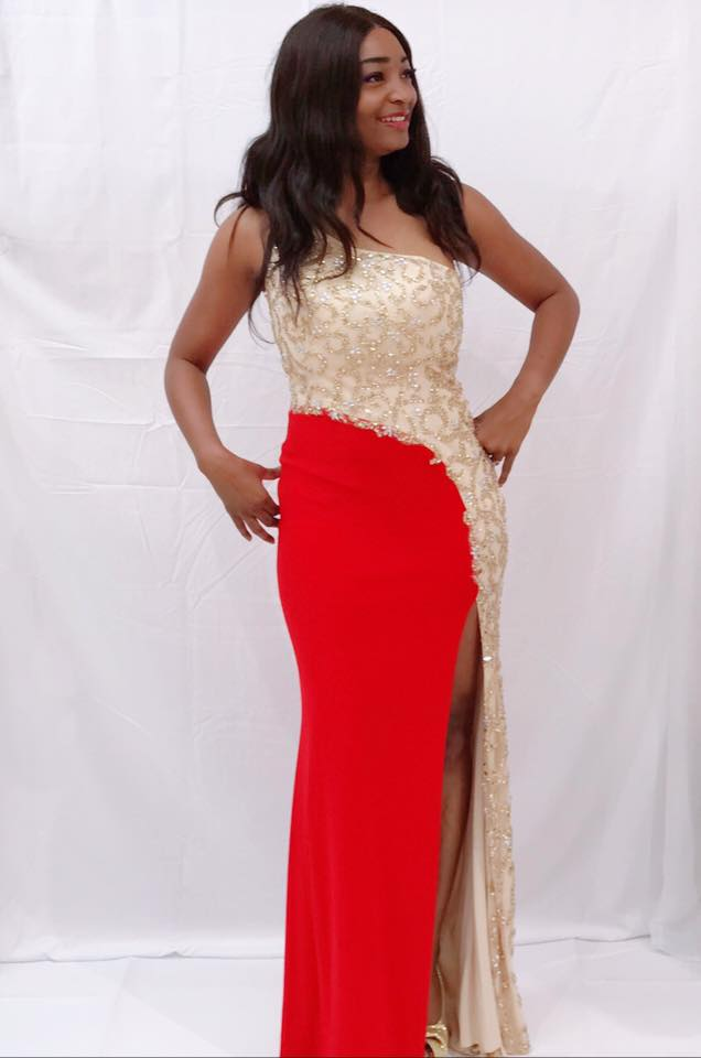 modelo formal dress red n beige