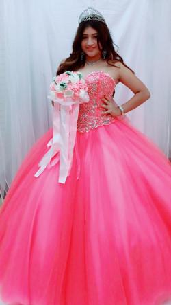 long pink quinceanera dress