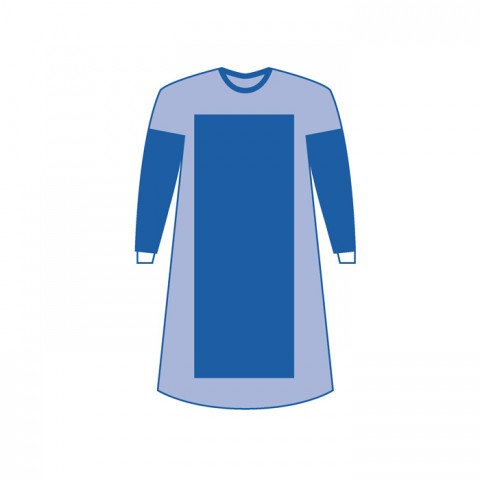 EN13795 Reinforced Surgical gown, SMMS45g, STERILE by EO, size: XL 130x150cm