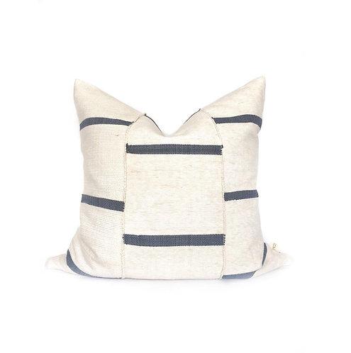 Leeway Throw - Off-White & Indigo Stripe