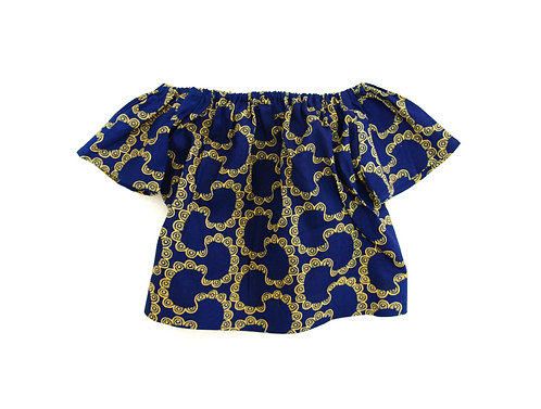 Girls Navy Biscuit SS Boho Top