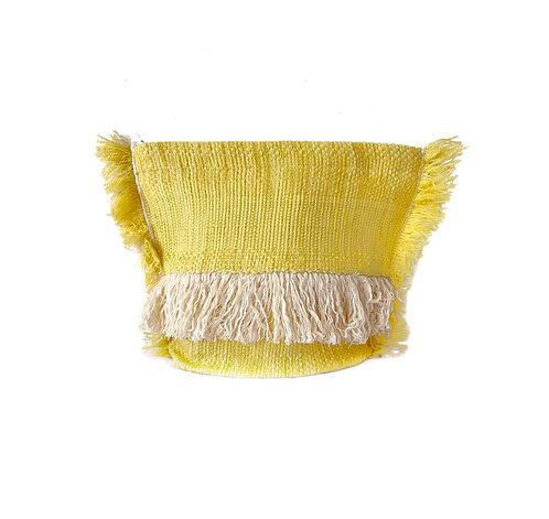 Boho Fringe Medium Pouch - Lemon