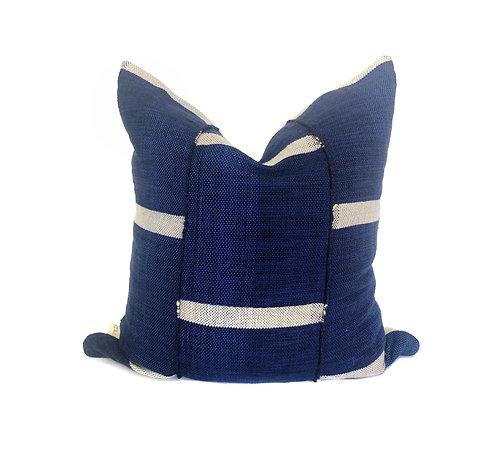 Leeway Throw - Indigo Off-White Stripe