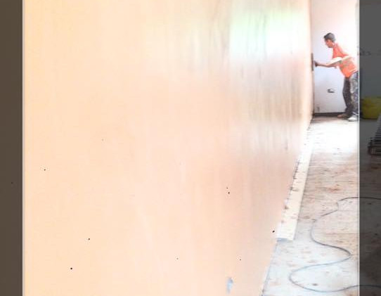 Long wall re plastering in progress