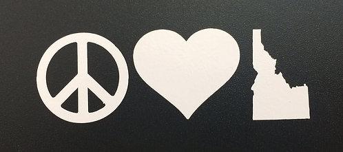 Vinyl Sticker Peace Love Idaho