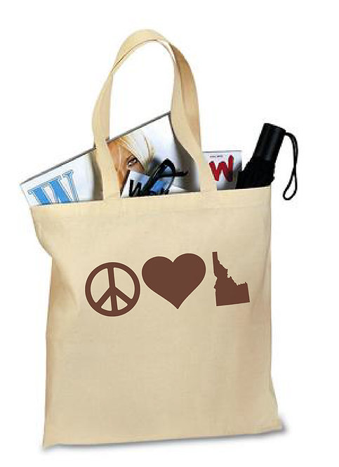 Tote Bag Peace Love Idaho
