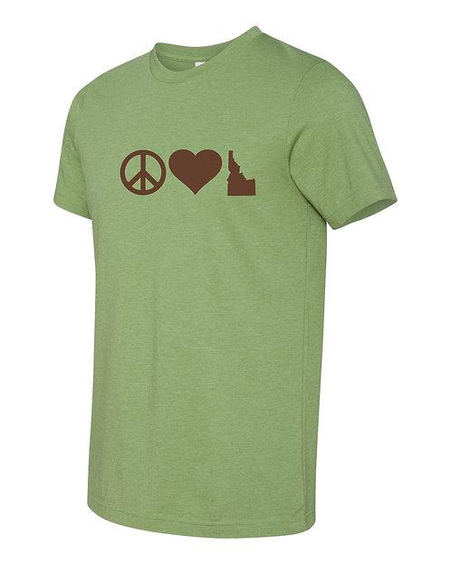 Mens Tshirt  Peace Love Idaho