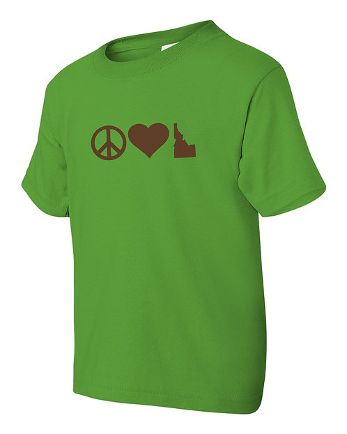 Youth Tshirt Peace Love Idaho