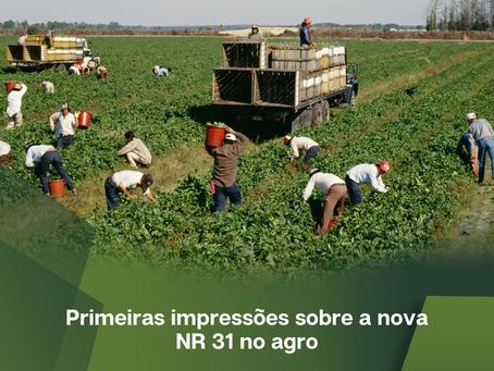 Primeiras impressões sobre a nova NR 31 no agro