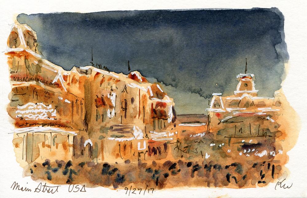 Watercolor Sketch, Main Street USA, Disney World