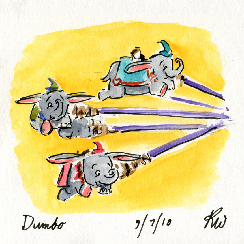 Last sketch of the trip! A super quick one of Dumbo. I've already gotten more ideas for sketches for next time!