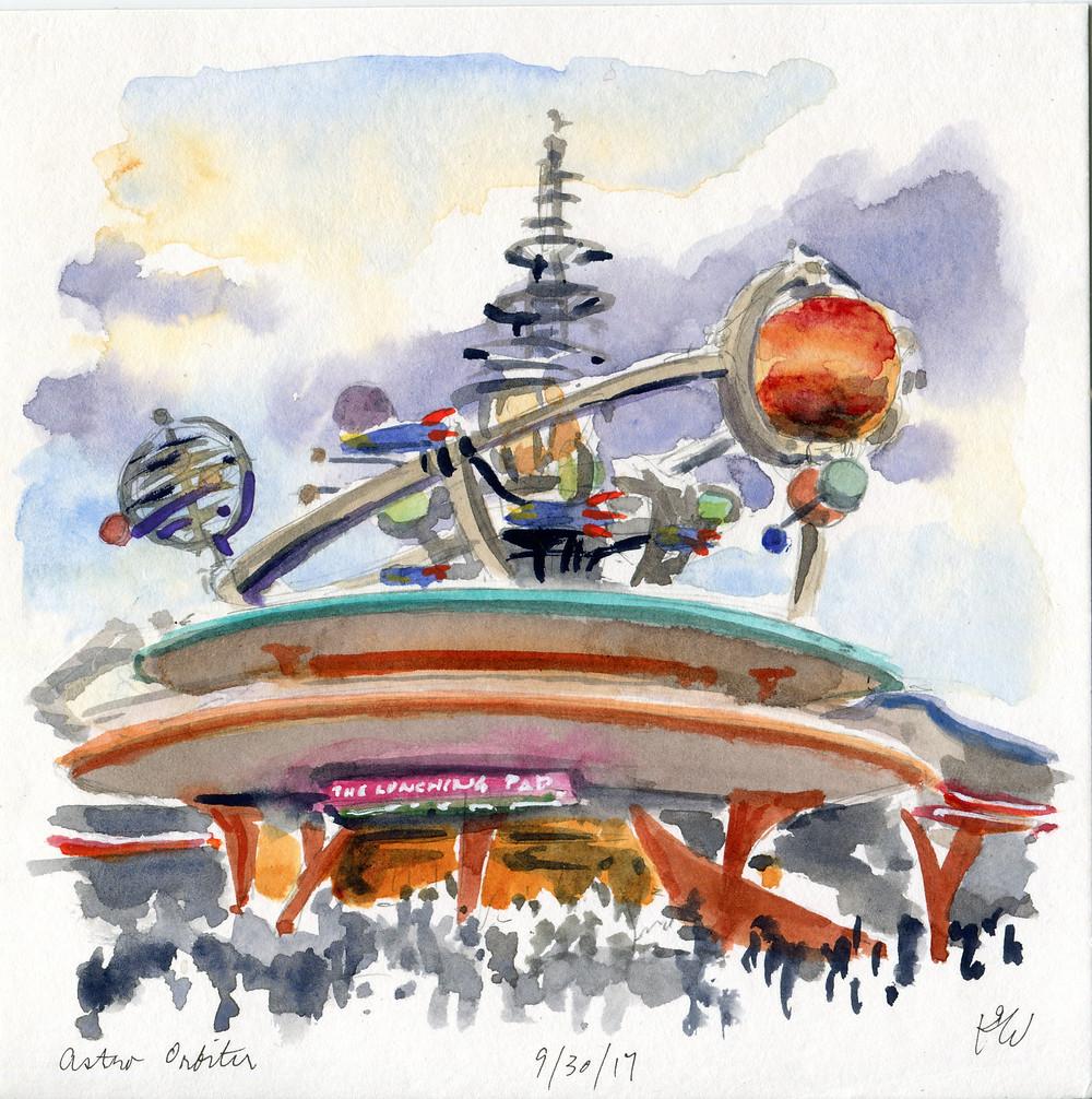 Watercolor Sketch, Astro Orbiter, Disney World Magic Kingdom