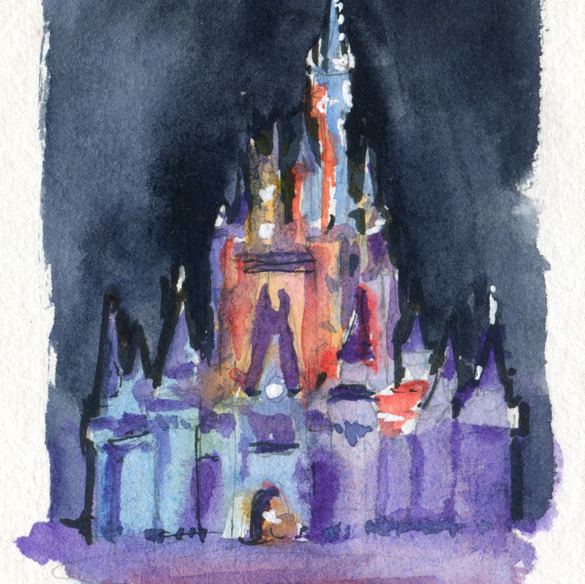 Had to start with a tiny (3x4!) night painting of the castle, first day in the park!