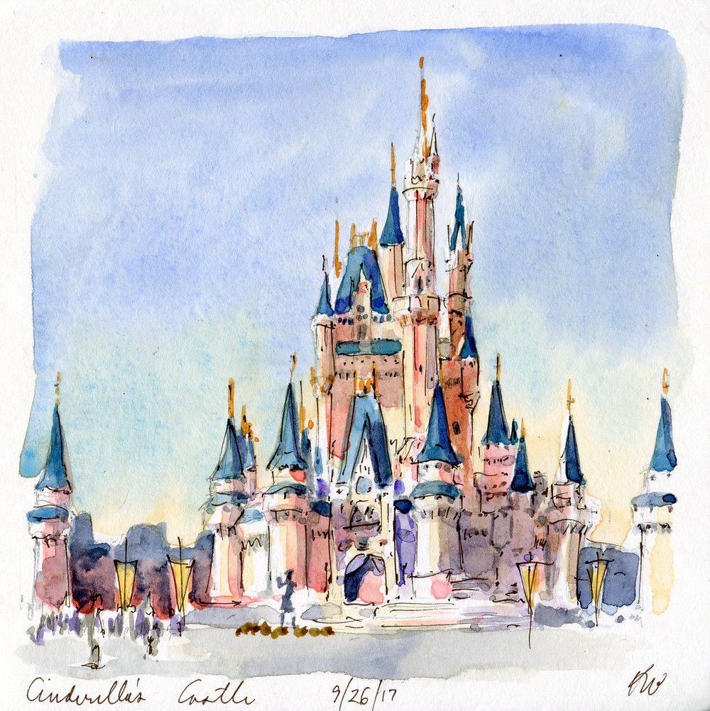 Watercolor Sketch, Cinderella's Castle, Disney World