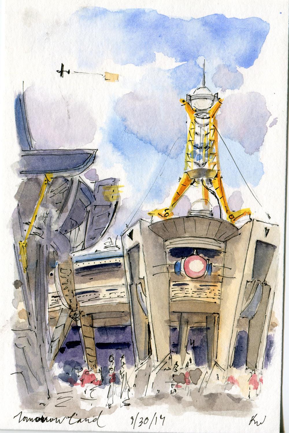 Watercolor Sketch, Tomorrowland Disney World, Magic Kingdom