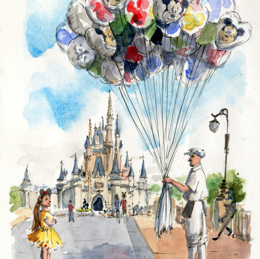 Snuck this last one of the castle in on our last day; this balloon man and the tiniest Belle on the last day. Mostly from life, but inspired by a photo I took on another day.