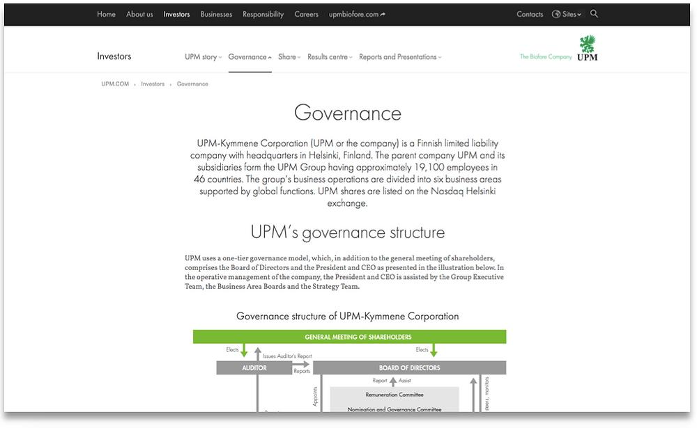 UPM's corporate governance landing page