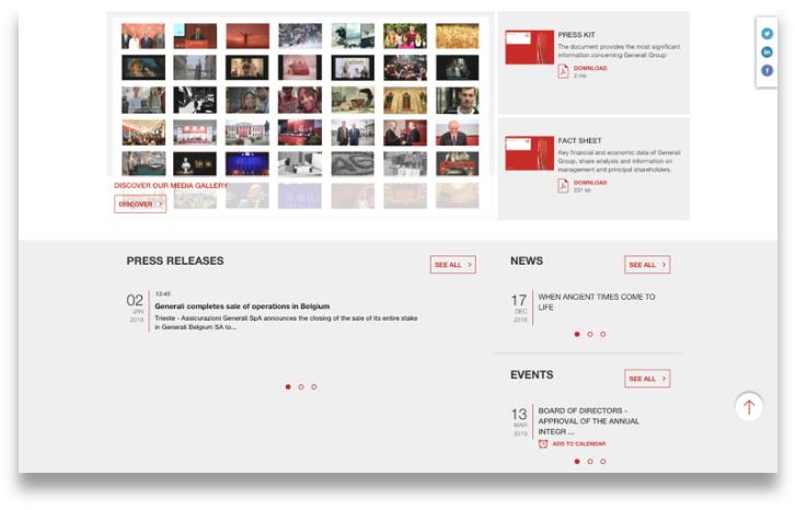 Generali's media landing page