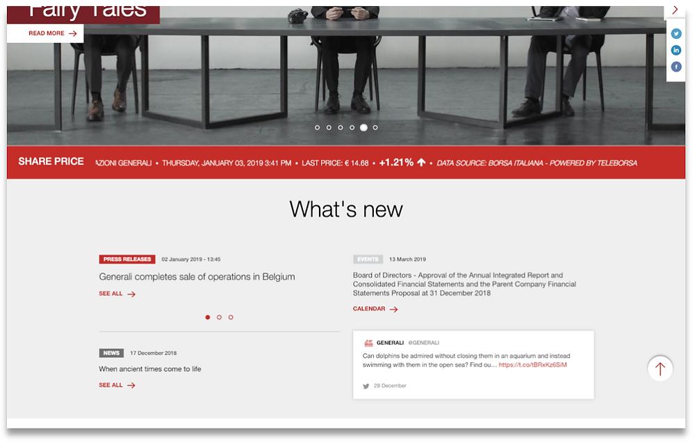 Generali's homepage news