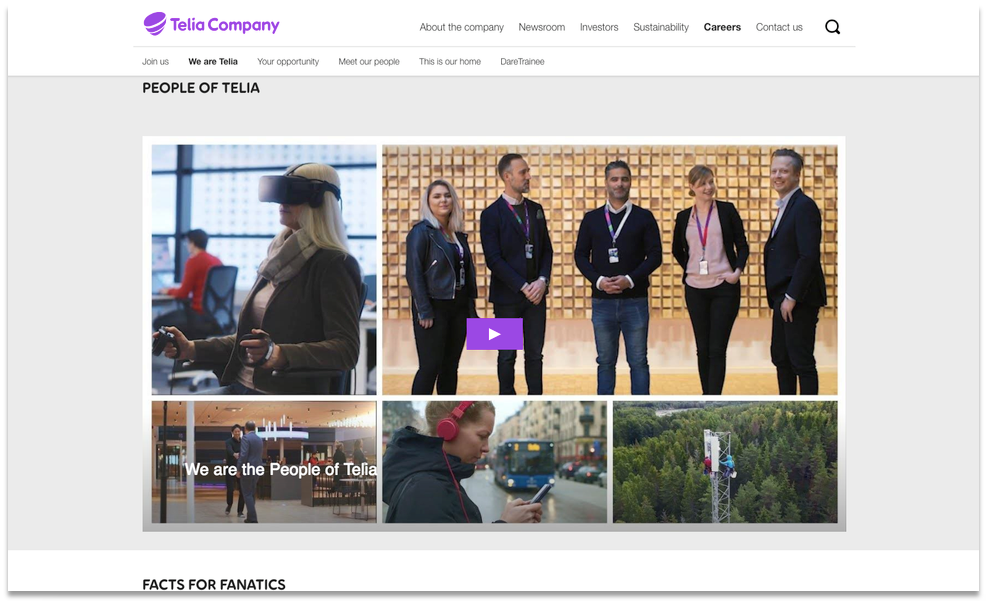Telia Company's corporate careers video