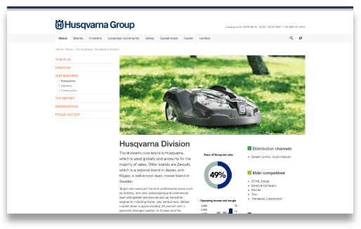 Husqvarna's business areas and competitors