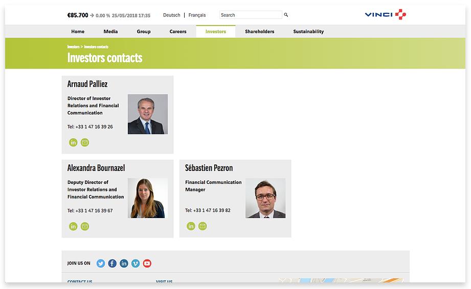 VINCI's IR contacts page