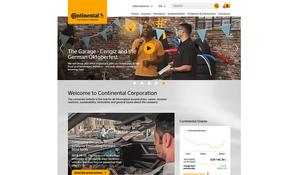 Continental homepage