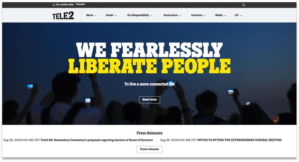 Tele2's homepage