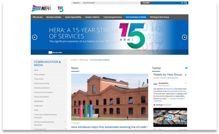 Hera Group's media landing page